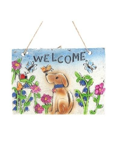 Bosphorus 21 X 16 X 1,2 Cm Köpek Ve Çiçek Desenli Welcome Yazılı Ip Askılı Dikdörtgen Balkon Ve Bahçe Süsü Kahve